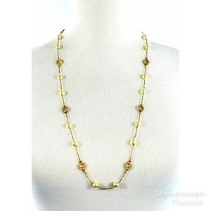 """J. Crew pearl and crystal circle necklace 16"""""""